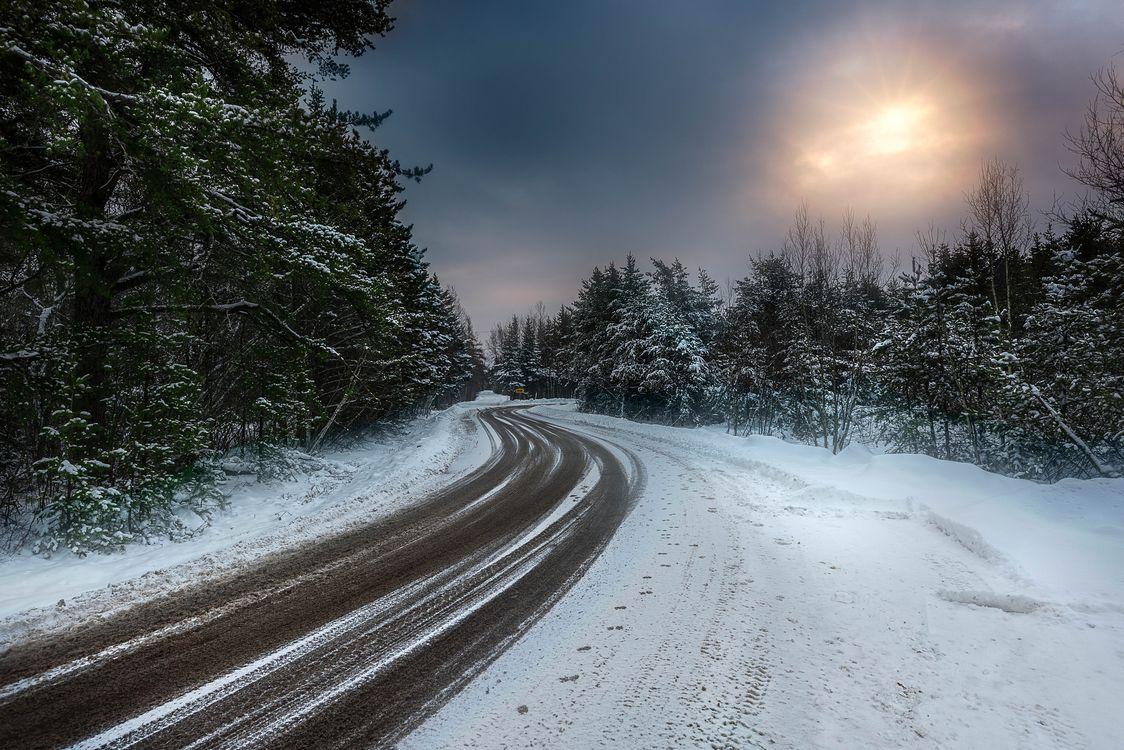 Загородная зимняя дорога · бесплатная заставка