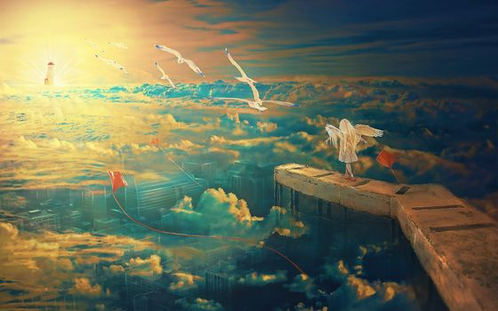 Заставки ангел, скалы, облака
