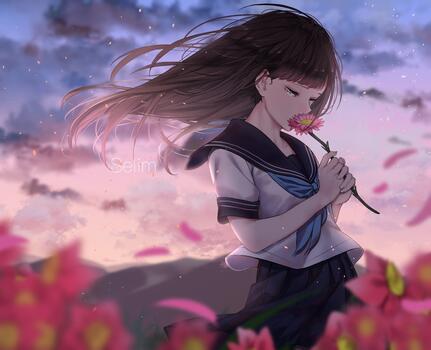 Photo free anime girl, teary eyes, sad expression