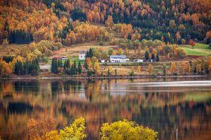 Бесплатные фото Норвегия,осень,река,холмы,дома,деревья,пейзаж