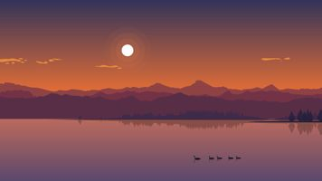 Фото бесплатно закат, утки, утята