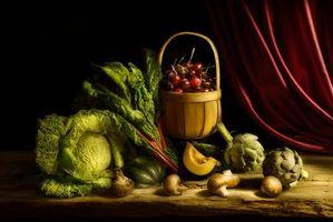 Бесплатные фото натюрморт,стол,предметы,капуста,грибы,черешня