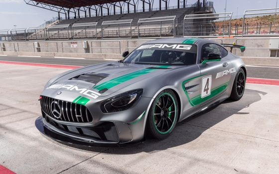 Photo free Mercedes AMG GT4, supercar, silvery