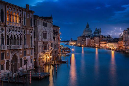 Фото бесплатно ночь, Venice, Молния