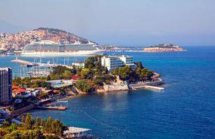 Фото бесплатно лайнер, море, город