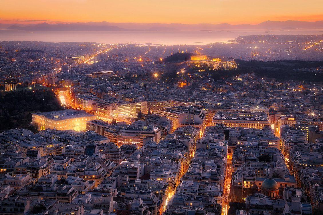 Фото бесплатно Вид на Афины с горы Ликабеттус, Афины, Греция - на рабочий стол