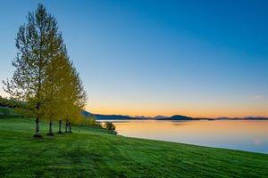 Фото бесплатно закат, озеро, поле
