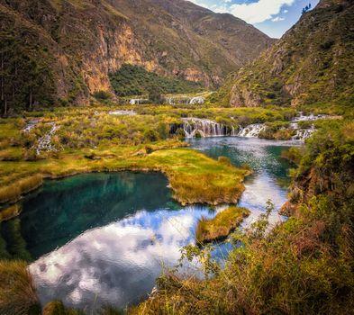 Photo free autumn, mountains, waterfall