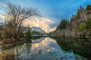 Бесплатные фото закат, озеро, горы, деревья, пейзаж