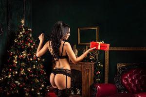 Заставки Новый год, елка, украшения, ёлочные игрушки, новогодняя ёлка, девушка, модель, красотка, Интерьер, новогодний интерьер, огни, иллюминация