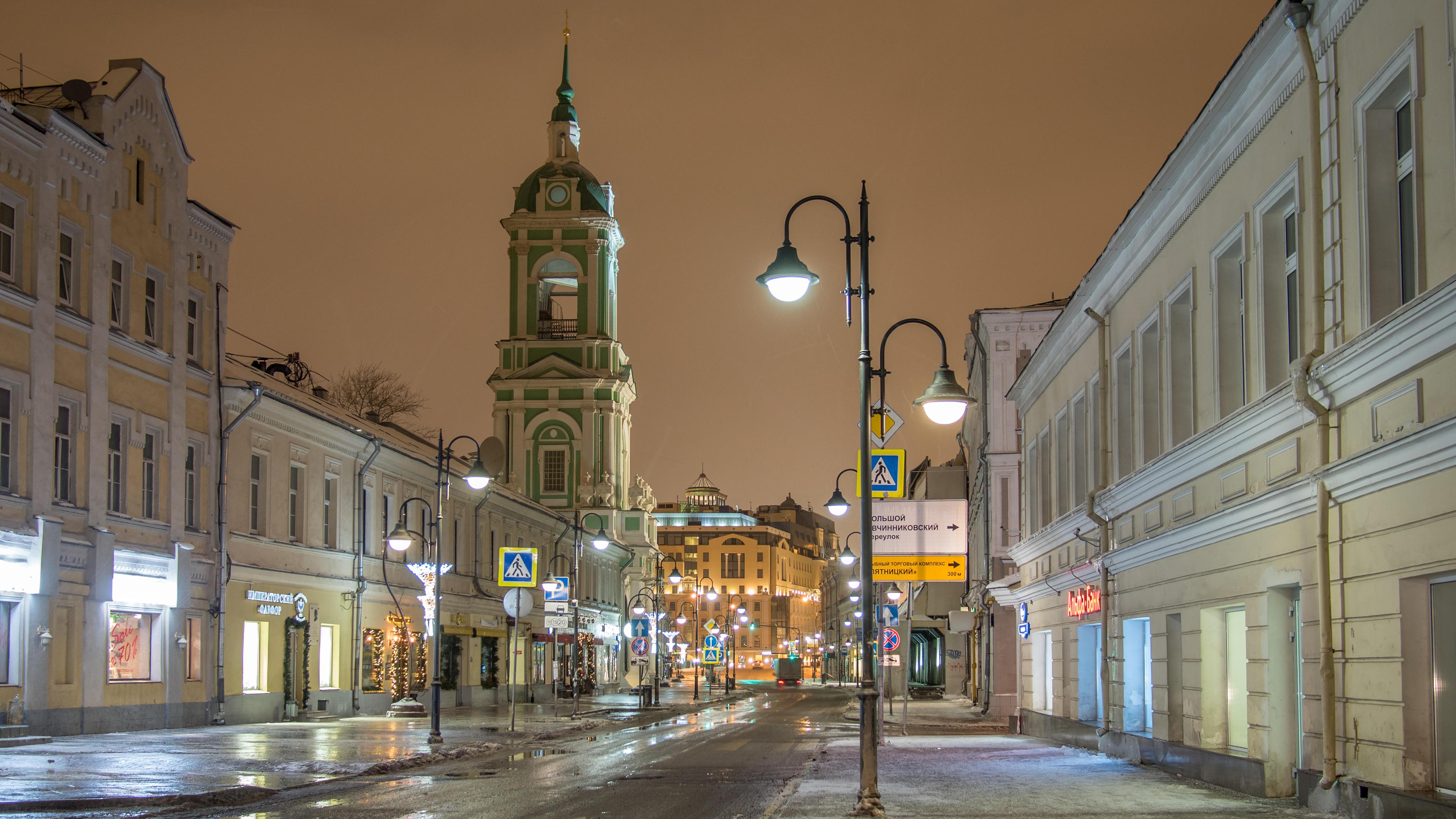 обои Ночь в Москве, Пятницкая, Москва картинки фото