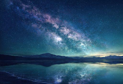 Фото бесплатно Млечный путь, озеро, небо