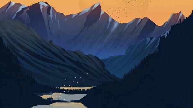 Photo free mountains, moon, lake