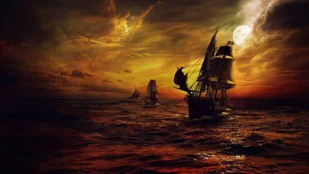 Photo free sailboat, sea, night