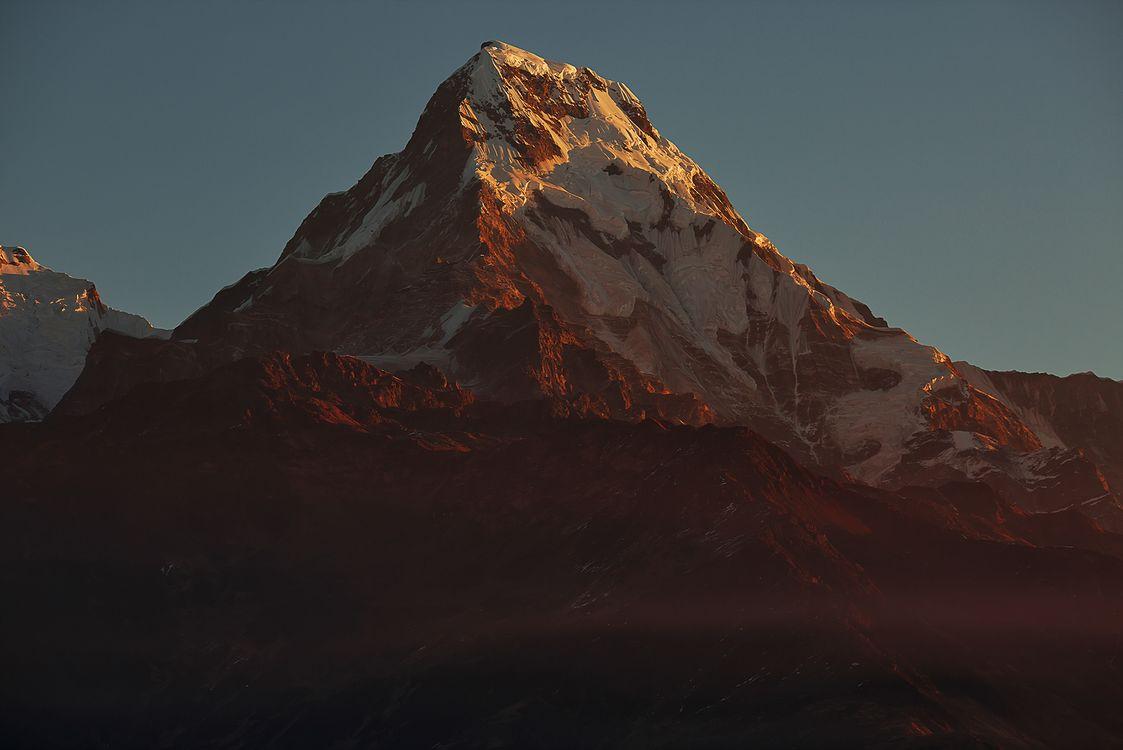 Фото бесплатно горы, Непал, гора, снег, закат, пейзаж, пейзажи