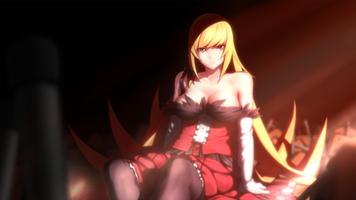 Фото бесплатно аниме, аниме-девушки, серия моногатари, девушка каваи, белая кожа, ошино шинобу, фан-арт, блондинка, светлые волосы, темный фон, красный