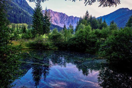 Австрия, пруд, озеро, горы, деревья