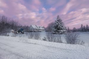 Бесплатные фото Трактор,Машина,Канада,Атлантика,зима,снег,поле