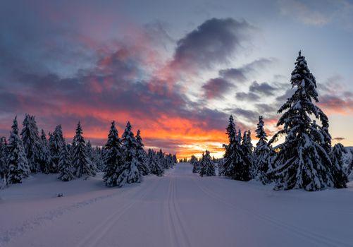 Заставки закат, зима, дорога