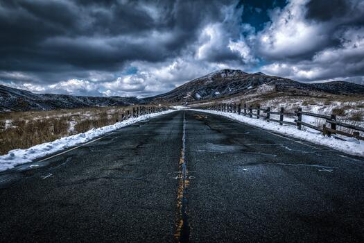 Photo free dark clouds, long road, snow