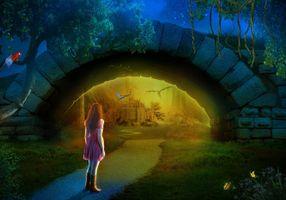 Бесплатные фото ночь,дорога,свечение,мост,арка,девушка,замок