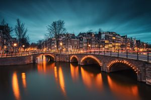 Бесплатные фото Amsterdam,Амстердам,Нидерланды,Голландия,город,ночь,огни