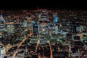 Лондон, Соединенное Королевство, небоскребы, вид сверху, ночной город