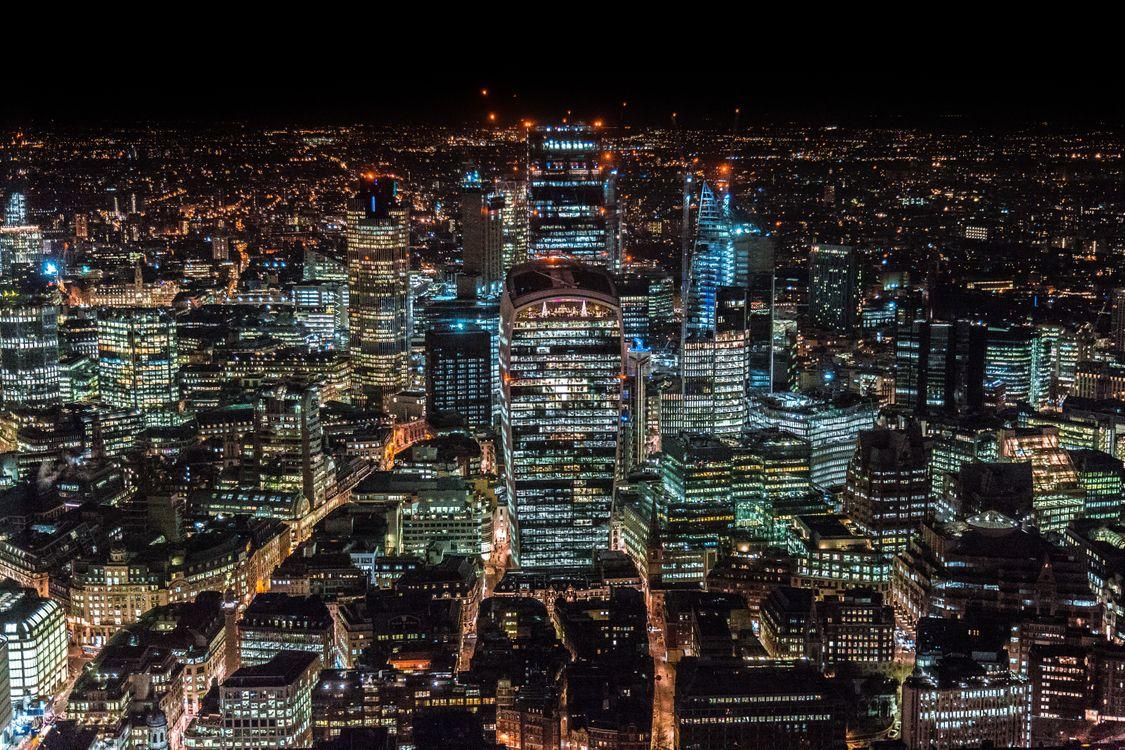 Фото бесплатно Лондон, Соединенное Королевство, небоскребы, вид сверху, ночной город, london, united kingdom, skyscrapers, top view, night city, город