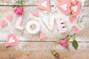Бесплатные фото печенье, глазурь, сердечки, розы
