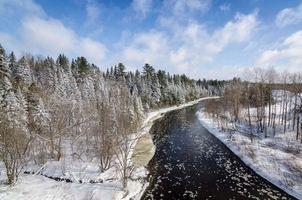 Фото бесплатно зима, река, лес, деревья, пейзаж