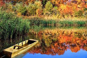 Заставки осень, озеро, лодка