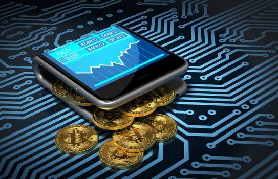 Заставки Bitcoin, плата, монеты