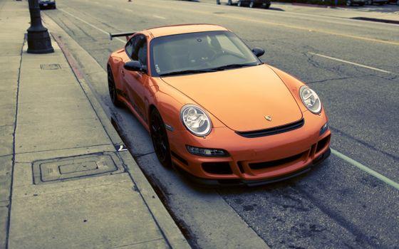 Photo free Porsche 911 Carrera S, orange, front view