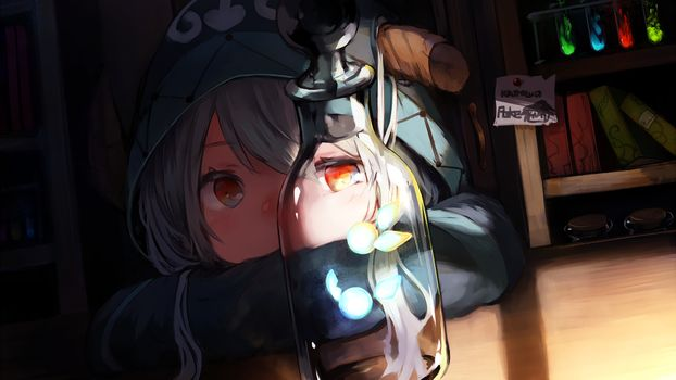 Заставки девушка, аниме, бутылка