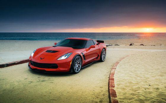 Photo free red, racing, Corvette