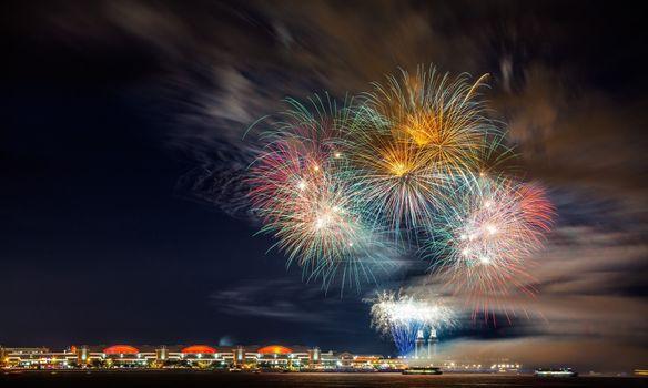 Photo free fireworks, beach, night