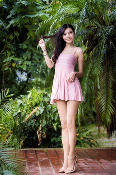 Photo free legs, asian smile, brunette