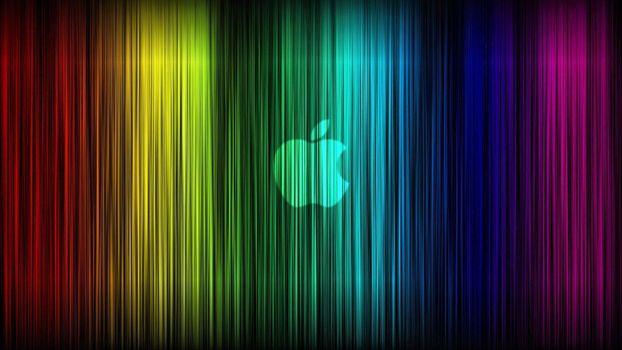 Photo free rainbow colors, neon, apple logo
