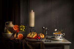 Бесплатные фото стол, натюрморт, продукты, фрукты, ягоды, еда, свеча