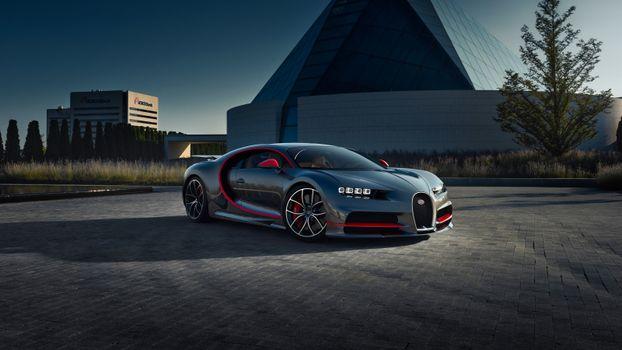 Фото бесплатно Bugatti Chiron, вид сбоку, тень