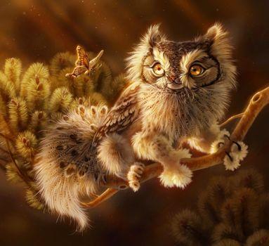 Фото бесплатно мифическое существо совы, фантастическое животное, рисунок