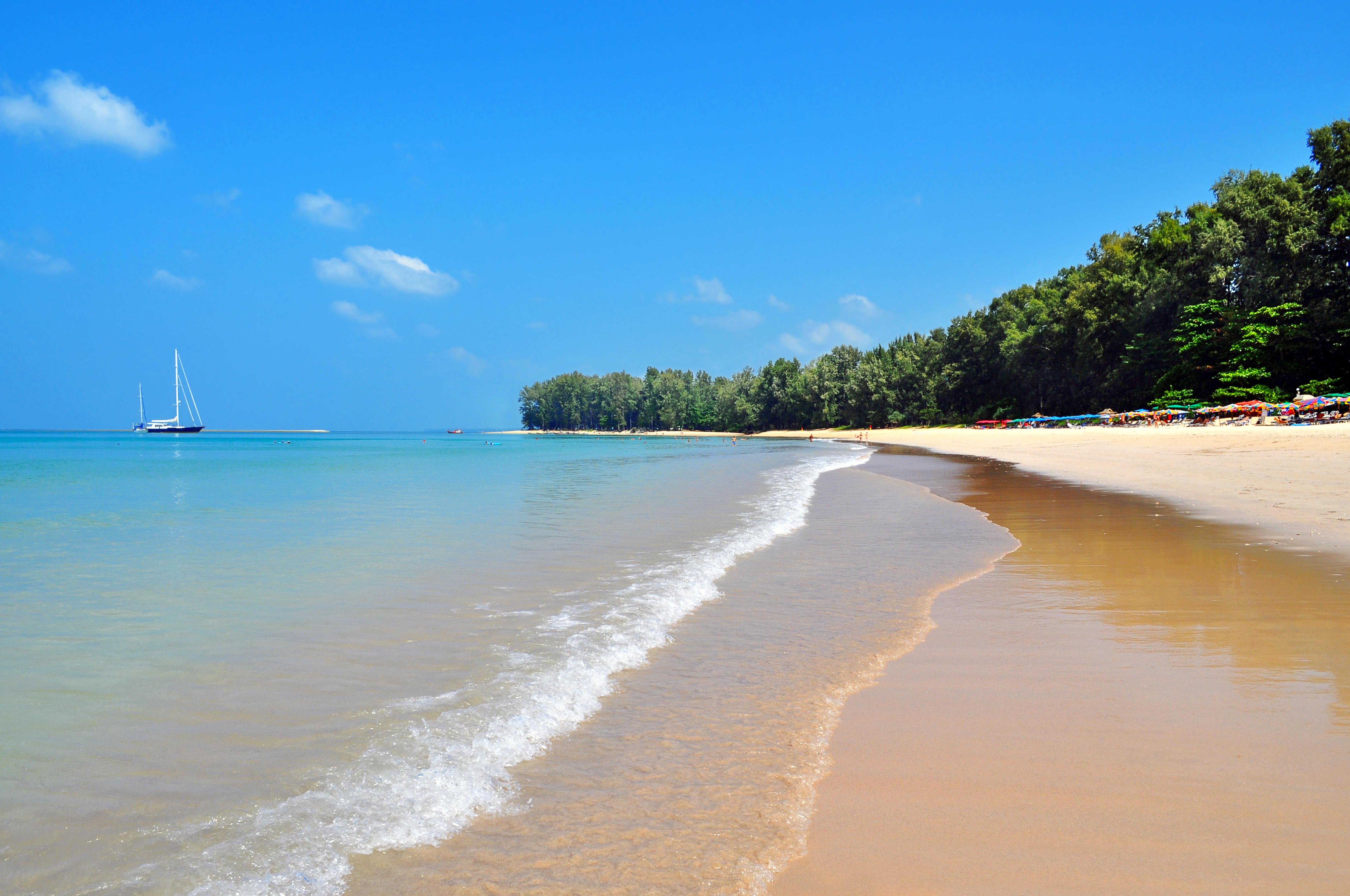 Обои море, пляж, яхта