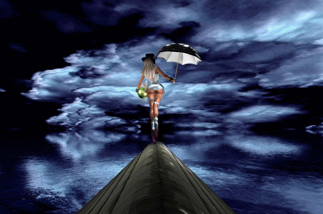 Фото бесплатно море, вода, девушка, зонтик, тучи, art, рендеринг