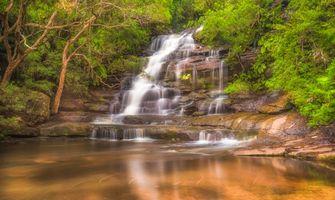 Бесплатные фото водопад,скалы,деревья,природа,пейзаж