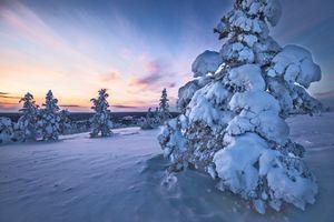 Фото бесплатно снег, закат, Финляндия