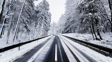 Фото бесплатно дорога, первый снег, начало зимы
