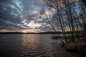 Бесплатные фото На берегу Учинского озера, Московская область, Россия, осень, закат, Учинское озеро, пейзаж