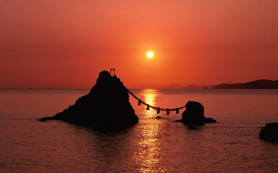 Фото бесплатно закат, морской пейзаж, скалы