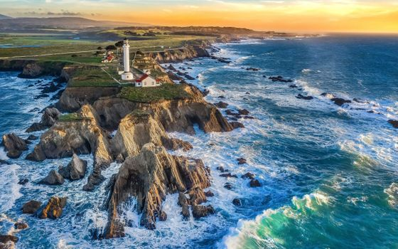 Фото бесплатно закат, волны, маяк