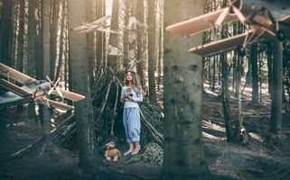 Бесплатные фото женщины,модель,плюшевые мишки,женщины на открытом воздухе,деревья,лес